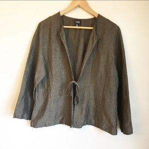 EILEEN FISHER dark gray linen blend tie cardigan